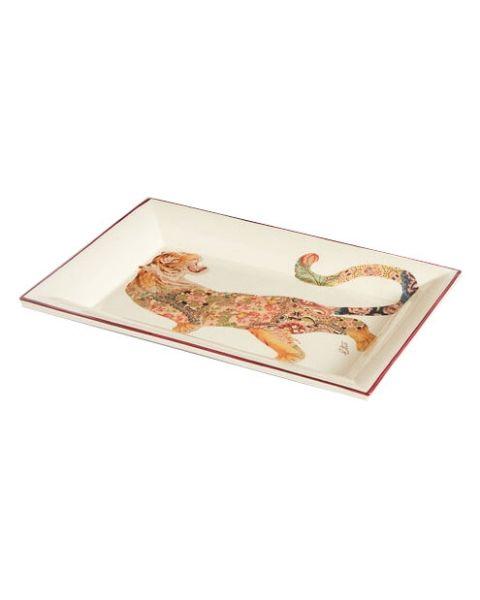 Rechthoekige keramische tray tijger