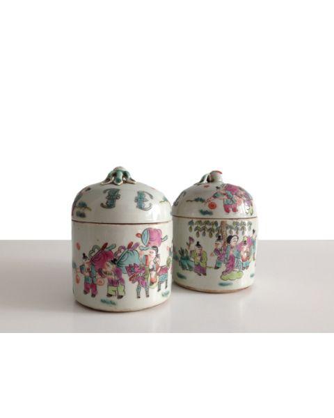 Storage jar vintage set of 2 small
