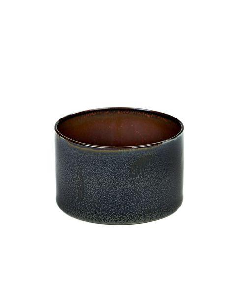 Beker recht laag darkblue/ rust 5 cm