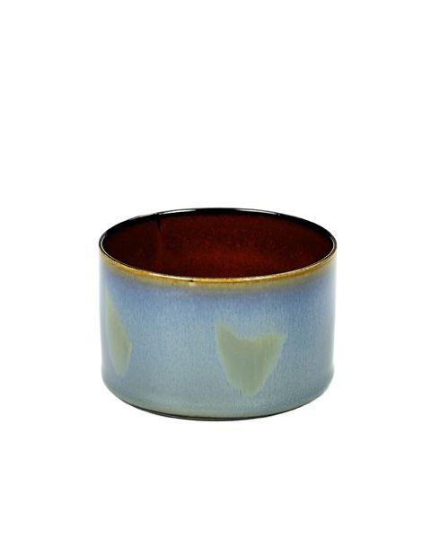 Beker recht laag smokeyblue/rust 5 cm