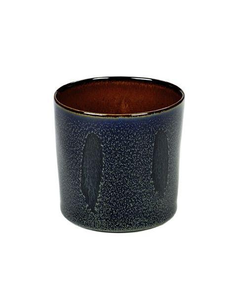 Beker recht hoog darkblue/rust 7,5 cm