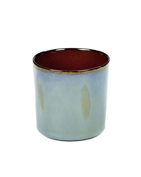 Beker recht hoog smokeyblue/rust 7,5 cm