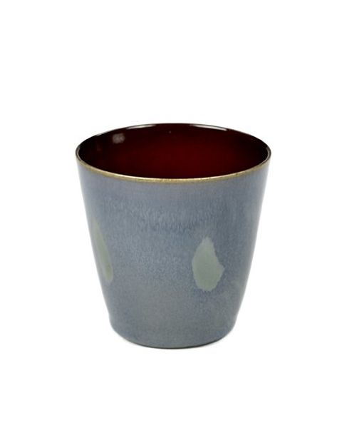 Beker S conisch smokey blue/ rust 7,5 cm