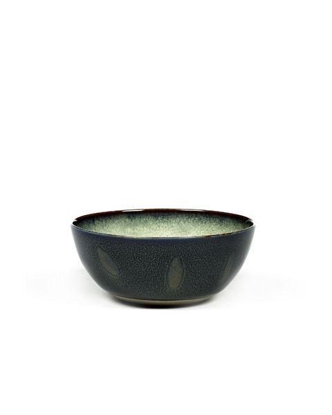Bowl M mistygrey/darkblue 14 cm