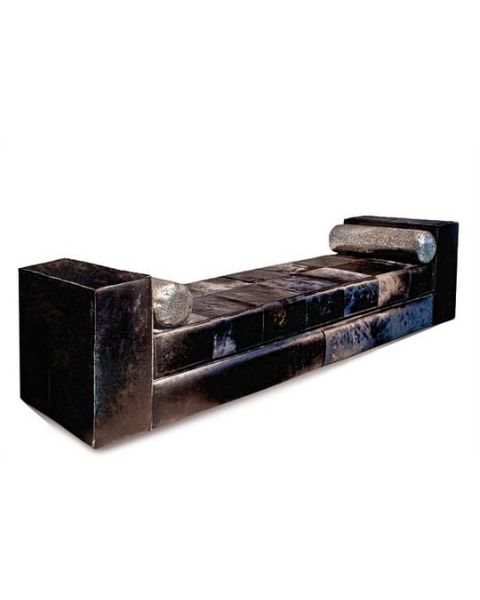 Bench XL cowhide black hairy with two rolls