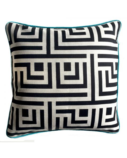 Kussen A&E orginals black white piping turquoise