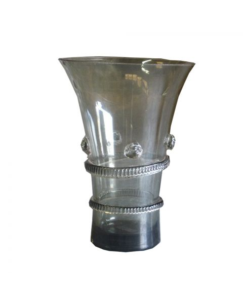 Glazen vaas  gedecoreerd  20 cm hoog smokey grey