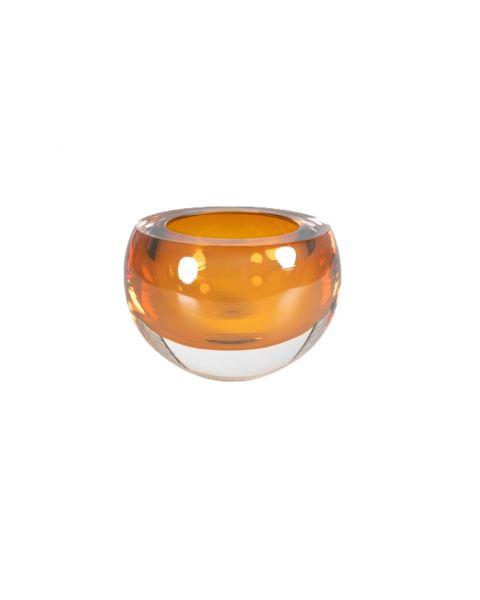 Glazen schaaltje/waxinelichtje amber
