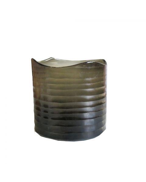 Cilindervaas/windlicht  gegraveerd 24 bruin