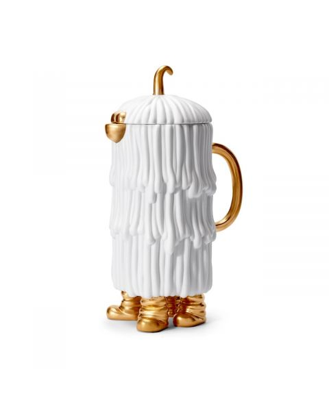 L'Objet Haas Djuna Coffee/Tea Pot White + Gold