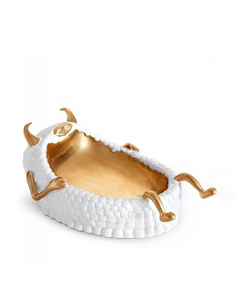 L'Objet Haas Lazy Susan Catchall Tray White + Gold