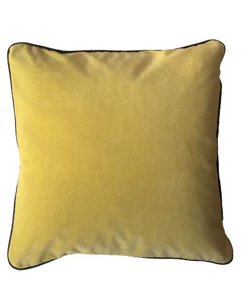 Kussen A&E orginals velvet yellow grey piping