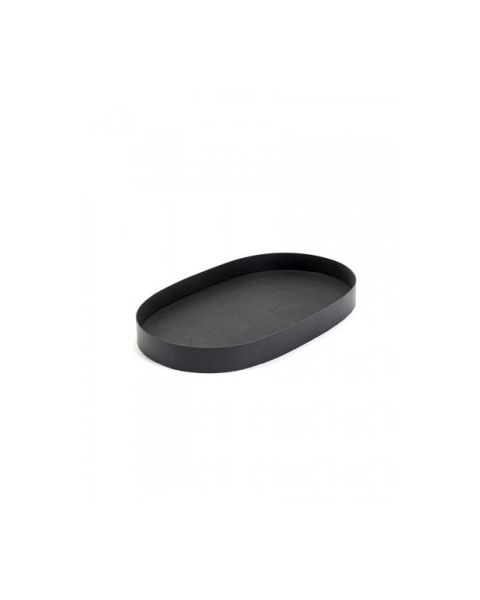 Plateau ovaal vinyl zwart 39 x 23 cm