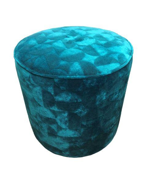 Poefje fluweel turquoise