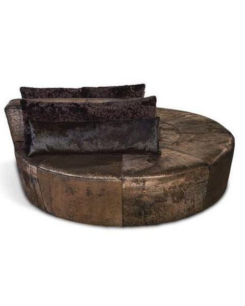 Ronde Sofa koeienhuid copper