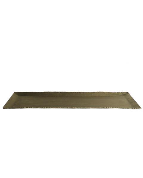 Tray golden metal rectangular