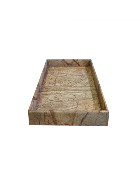 Tray marble 15x30x3 cm brown forest
