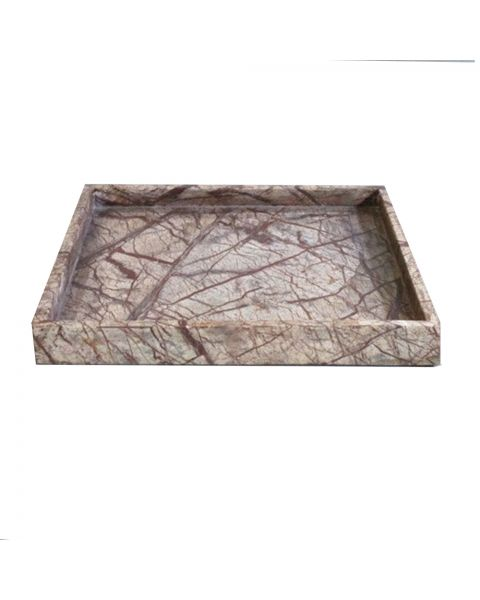 Tray marble  30x30x3 cm brown