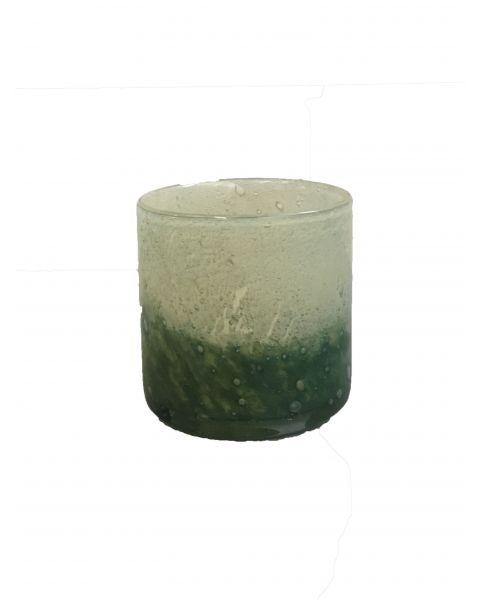 Votive green/creme glass