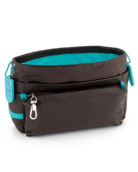 Bag in bag lamsleer chocolate/lagon
