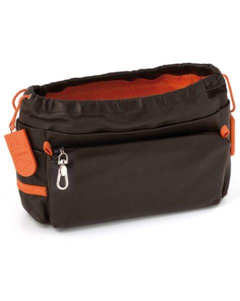 Bag in bag lamsleer chocolate/mandarin