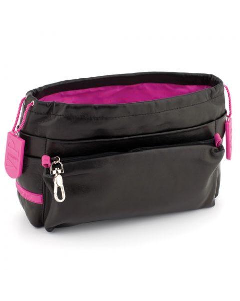 Bag in bag lamsleer black/fuchsia